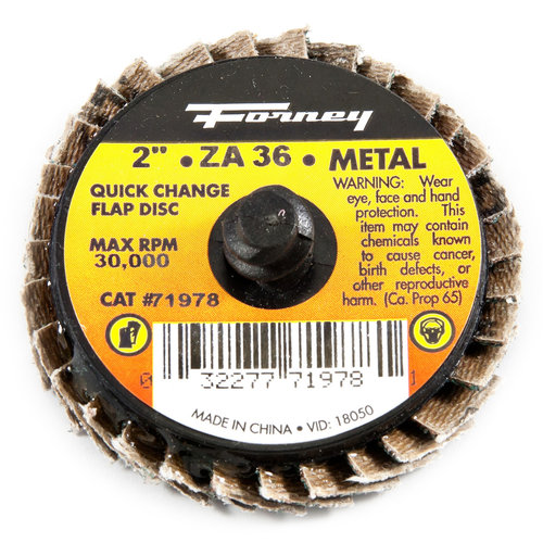 "Forney 71978 Quick Change Mini-Flap Disc, 2"", 36 Grit"