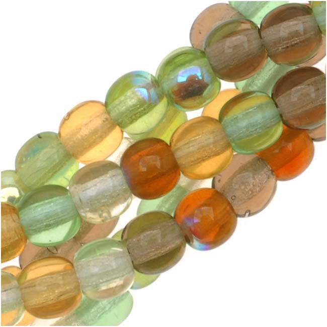 Czech Glass Druk Round 4mm Earthtone Color Mix Greens & Amber (100)