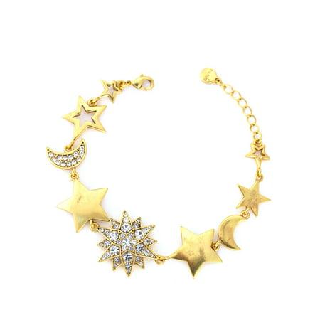 TAZZA WOMEN'S GOLD STAR AND MOON CRYSTAL WRAP AROUND (Wrap Around Bracelet)