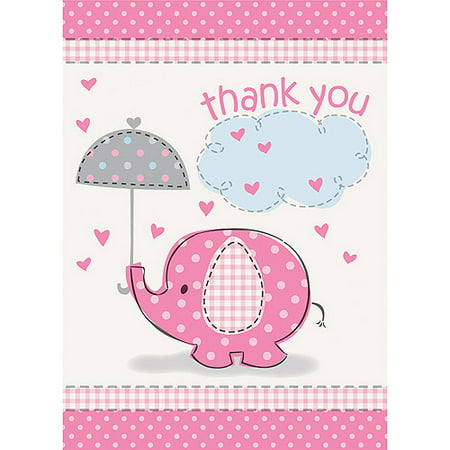 Pink Elephant Baby Shower Thank You Notes, 8ct](Pink Elephant Themed Baby Shower)