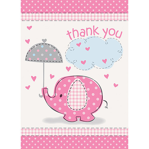 Pink Elephant Baby Shower Thank You Notes, 8ct