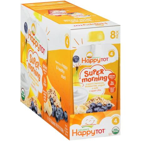Happy Tot Organics Super Morning Bananas  Blueberries  Yogurt   Oats   Super Chia Organic Stage 4 Baby Food  4 Oz  8 Count