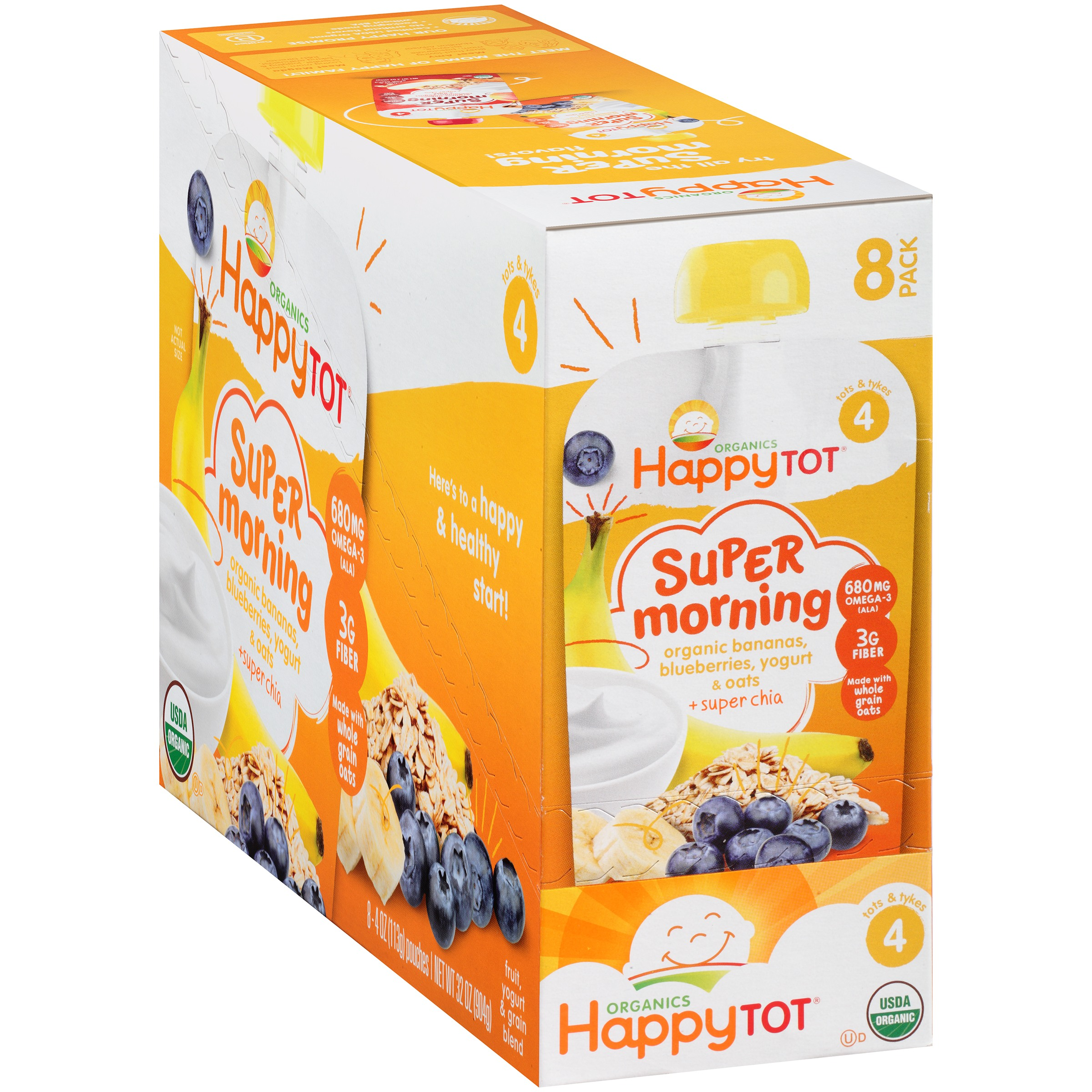 Happy Tot Organics Super Morning Bananas, Blueberries, Yogurt & Oats + Super Chia Organic Stage 4 Baby Food, 4 oz, 8 count