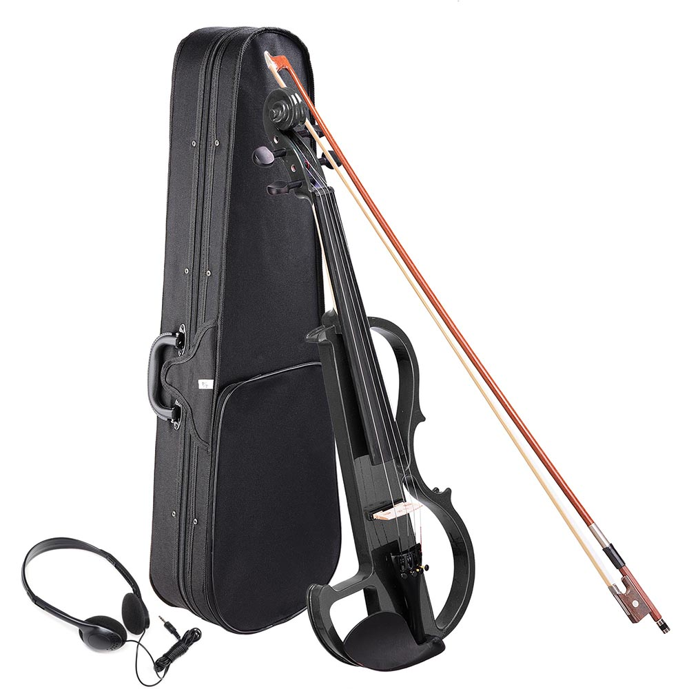 4/4 Electric Violin Full Size Wood Silent Fiddle Musical Instrument Fittings Headphone