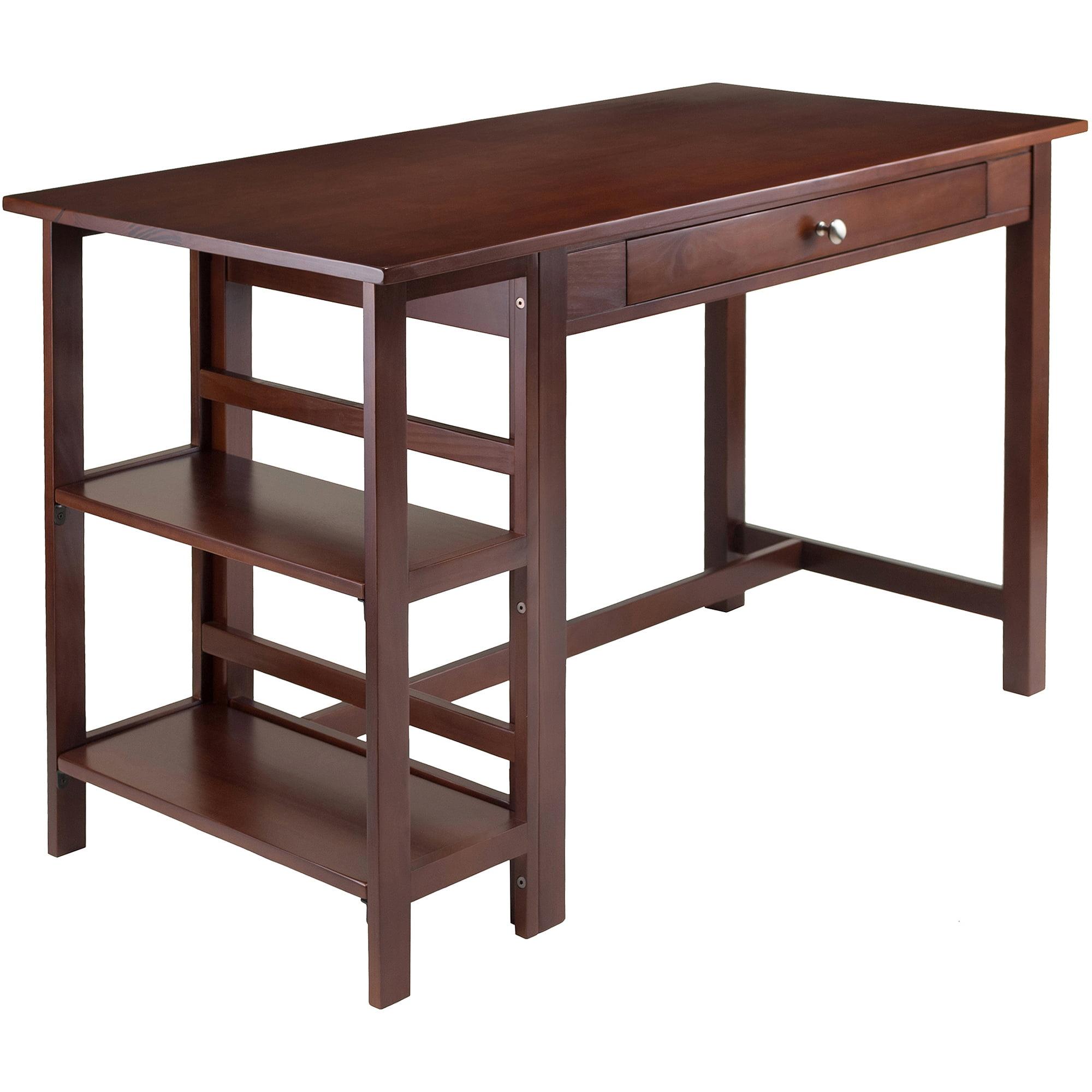 Velda Writing Desk with 2 Shelves, Walnut