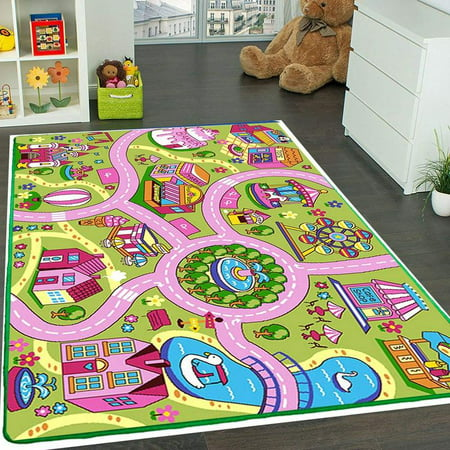 Mybecca Kids Rug Colourful Fun Land 3' x 5' Roads Childrens Floor Play Children Area Rug Mat Playroom & Nursery (39