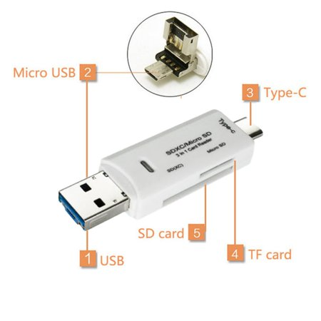 OTG Type-C Card Reader USB 3.0 USB A Micro USB Combo to TF SD Card Reader - image 5 de 6
