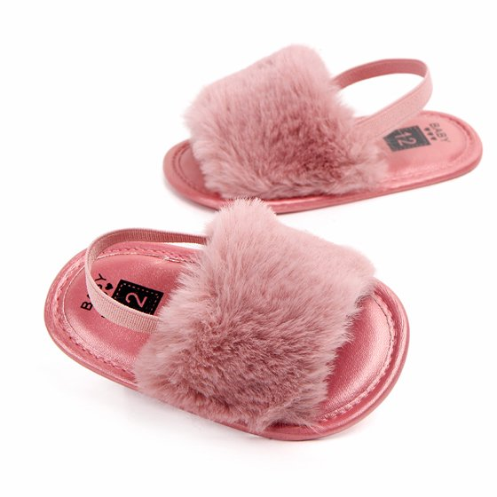 7dea872162c6a JEFFENLY - JEFFENLY Baby Girl Fluffy Fur Soft Sole Crib Sandals Shoes,Infant  Princess Non-slip Crib Shoes 11/12/13 for baby 0-6M/6-12M/12-18M -  Walmart.com