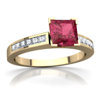 Pink Tourmaline Channel Set Ring in 14K Yellow Gold by