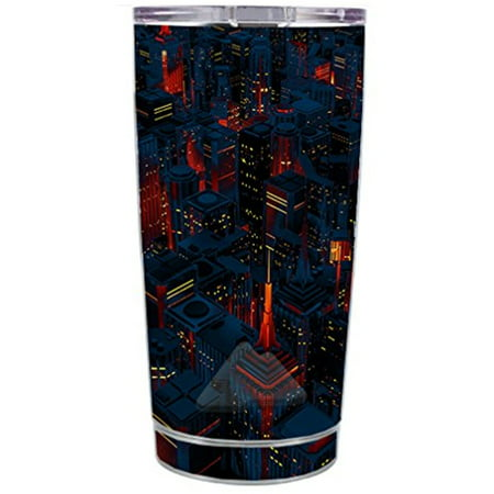 Skin Decal Vinyl Wrap for Ozark Trail 20 oz Tumbler Cup (5-piece kit) Stickers Skins Cover / City Glow at Night Skyline view