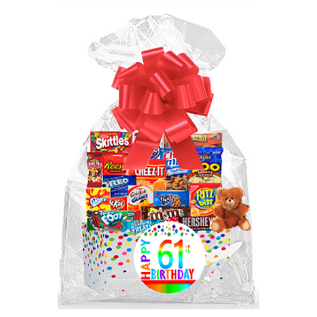 Signature Cookie Gift Box - CakeSupplyShop Item#061BSG Happy 61st Birthday Rainbow Thinking Of You Cookies, Candy & More Care Package Snack Gift Box Bundle Set - Ships FAST!