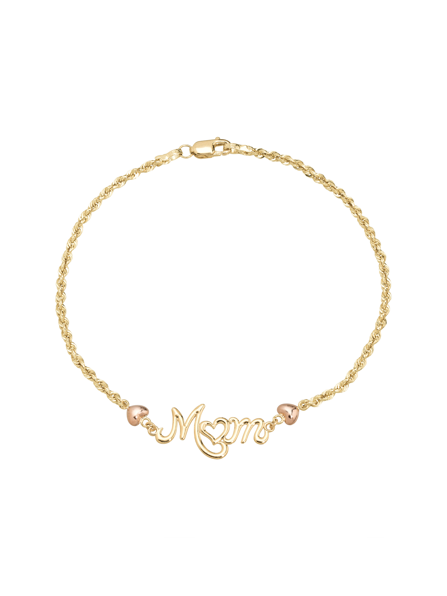"""Simply Gold 10K Yellow and Pink Gold Glitter Rope """"Mom"""" Bracelet by Richline Group"""