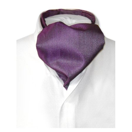 - Antonio Ricci ASCOT Solid PURPLE Ribbed Pattern Color Cravat Men's Neck Tie