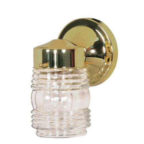 "Nuvo Lighting 77/996 Single Light 6"" Porch Light with Clear Glass Mason Jar Shad"
