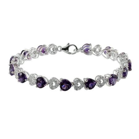 "Amethyst Zircon Platinum Plated Silver Tennis Bracelet for Women 11.3 Cttw Size 7.25"""