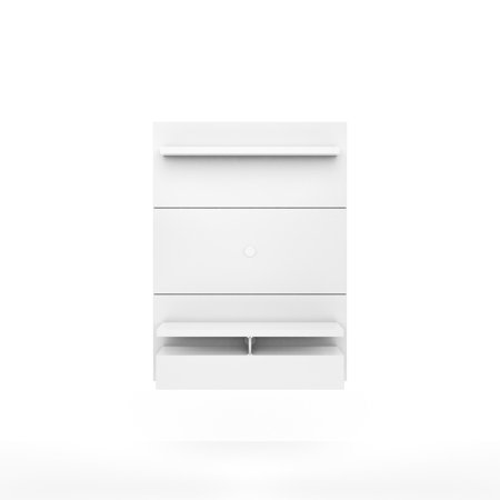 City 1 2 Floating Wall Theater Entertainment Center In White Gloss
