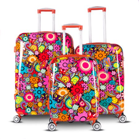 Gabbiano Floral Collection 3-Piece Hardside Spinner Luggage Set