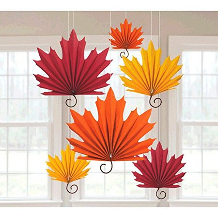 Fall Party Decorations (Amscan Colors of Fall Thanksgiving Party Autumn Leaves Hanging Fans Decoration , OrangeRed, 18