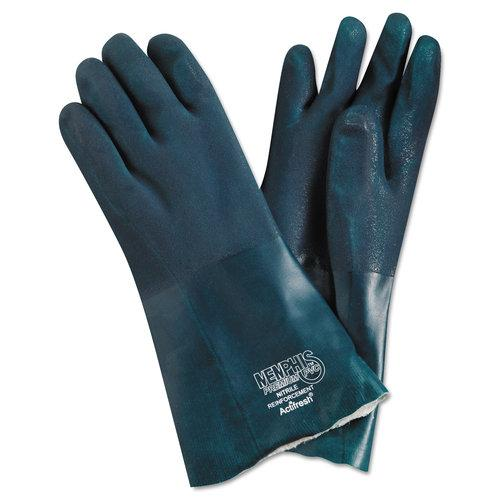 "Premium Chemical-Resistant PVC Gloves, 14"""" Length, Large, Green, 12 Pairs, Sold as 12 Each"