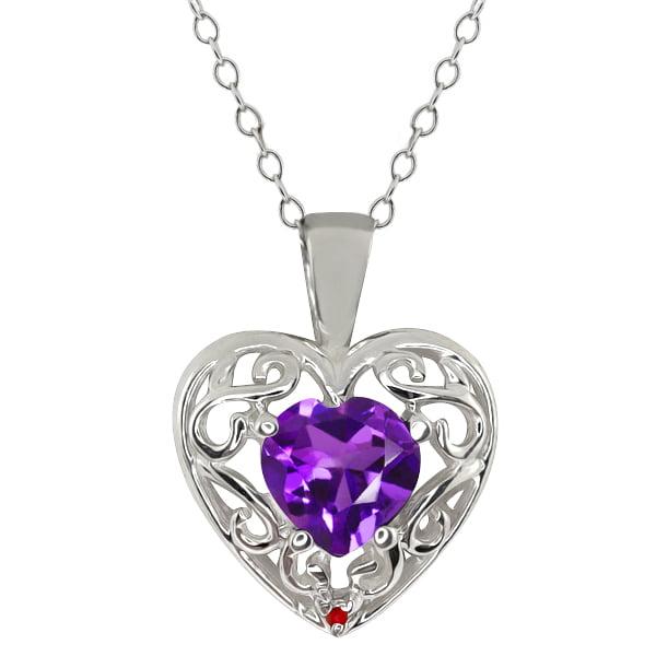 0.75 Ct Heart Shape Purple Amethyst Red Garnet Sterling Silver Pendant