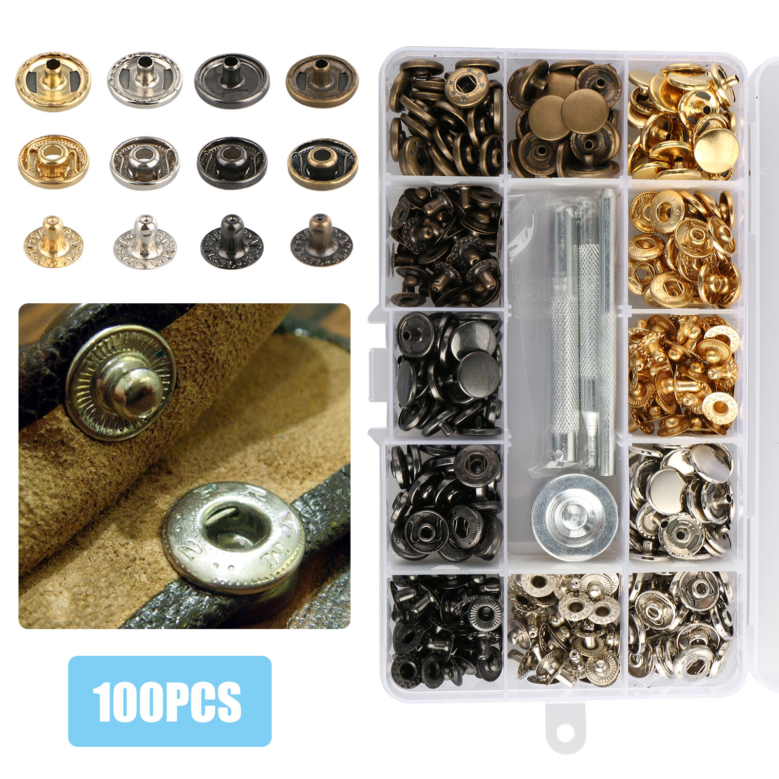 EEEKit 100 Sets Snap Fasteners Kit (12.5mm) ,  Metal Snap Buttons Press Studs with 4 Pieces Fixing Tools, 4 Colors for Leather, Coat, Down Jacket, Jeans Wear and Bags Decoration