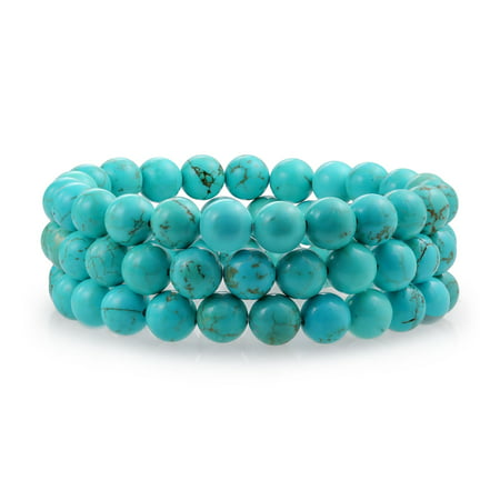 - Set Of 3 Stabilized Turquoise 8MM Ball Bead Stones Stackable Strands Stretch Bracelet For Women For Teen