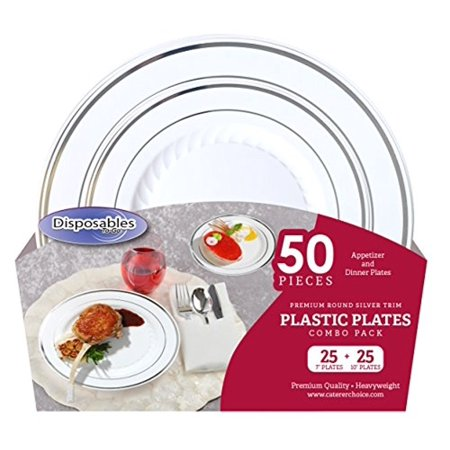 Premium China dishes design Combo Heavy-weight White with Silver Trim Round Plastic Party Plates | 50 Count - 25 x 7