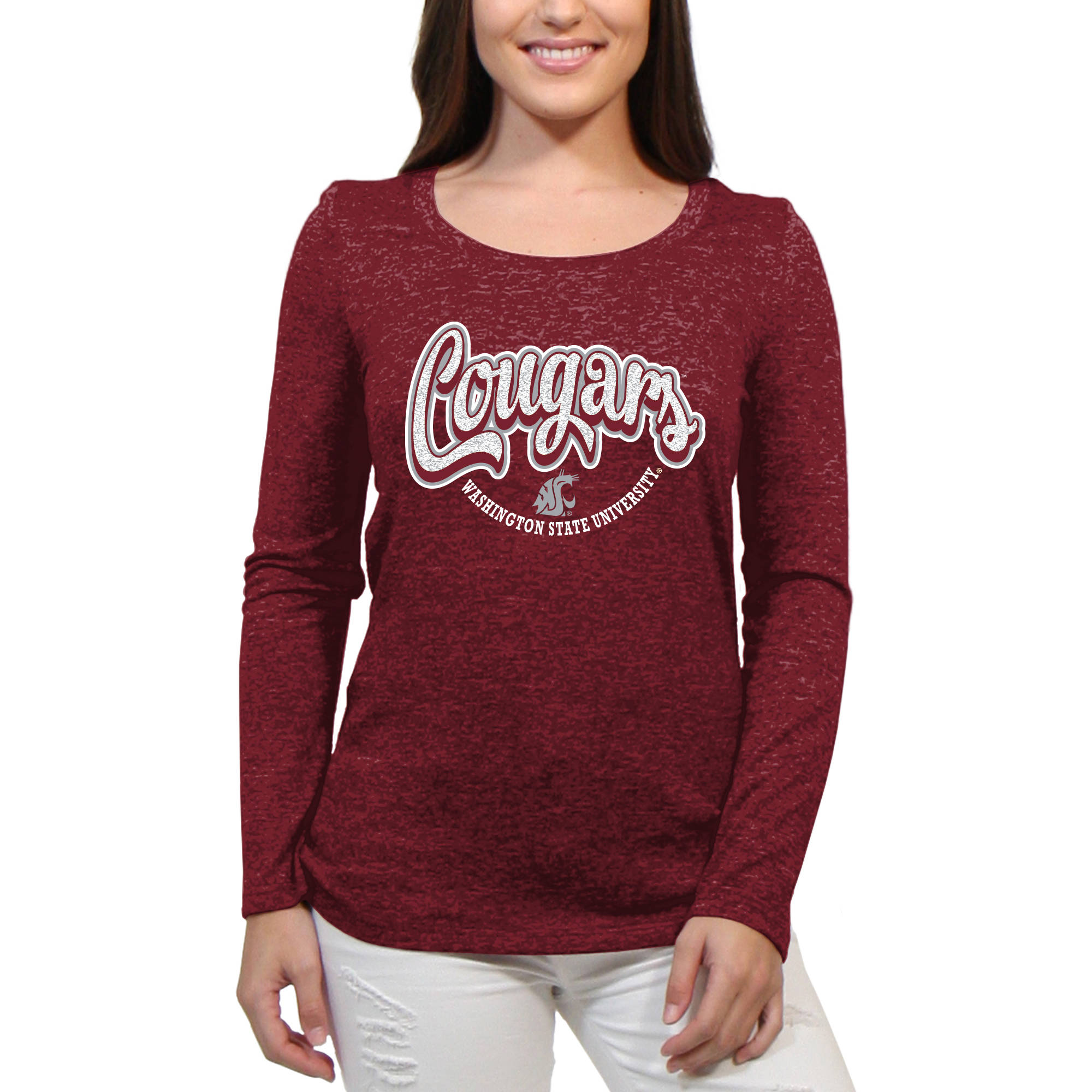 Washington State Cougars Funky Script Women'S/Juniors Team Long Sleeve Scoop Neck Shirt