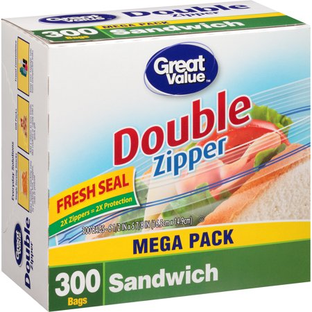 Great Value Double Pinch & Seal Zipper Food Storage Bags, Sandwich, 300 Ct