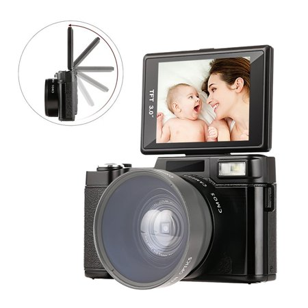 Digital Camera 3.0 Inch Screen Video Camera Vlogging Camera Full HD 1080p 24MP With Retractable Flash Light With UV Lens MARVUE HDV-G12