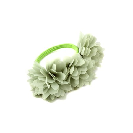 3pcs Baby Girls Child Chiffon Blossom Elastic Hair Band Flower Rope Ring Headband Accessories, Green