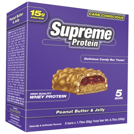 Supreme Protein Peanut Butter & Jelly Protein Bars, 1.75 oz, 5 count ...