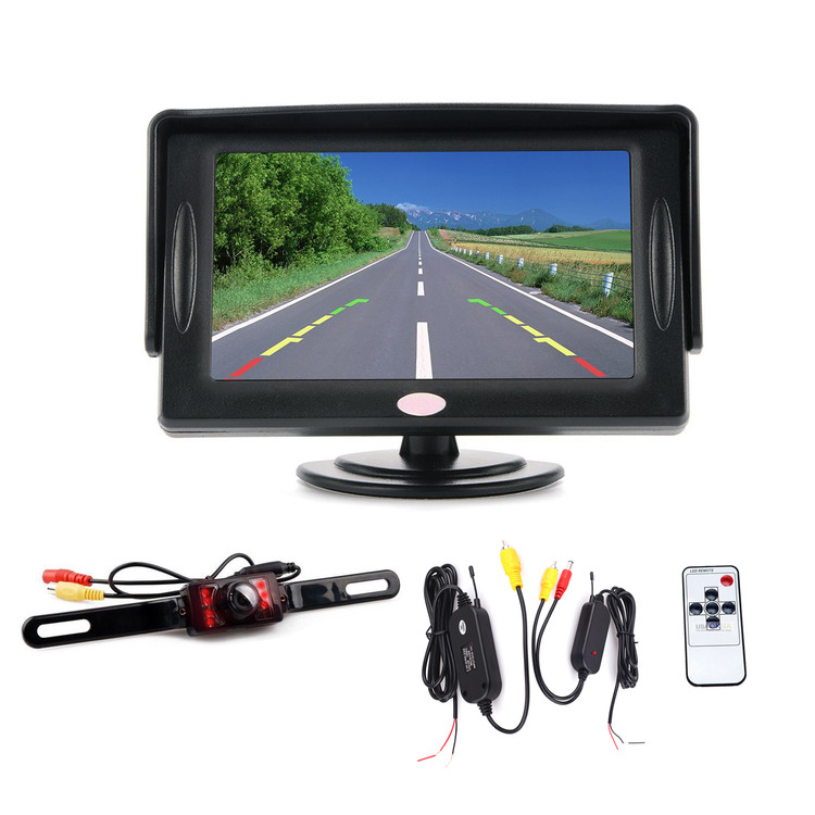 "4.3"" LCD Car Rear View Backup Monitor + Car Rear View Camera with AV Cable Video Transmitter Receiver"