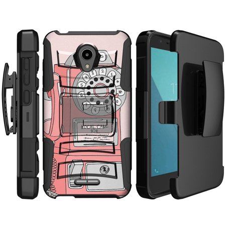 IdealXcite & Alcatel Verso Retro Kickstand Case [Clip Armor Holster Case for Alcatel IdealXcite] Phone Dial Design Case for Alcatel IdealXcite / Verso - Rotary Pay - Walmart Pan Set