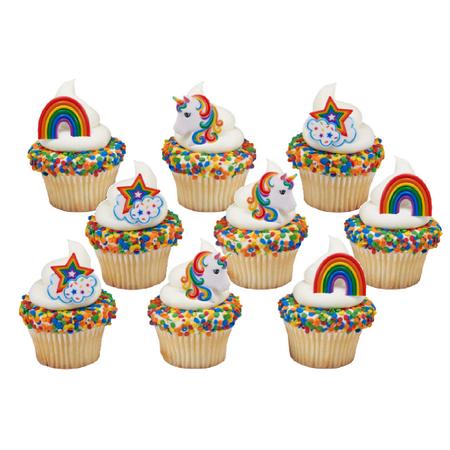 12pack Rainbow Unicorn Cupcake Decoration Rings