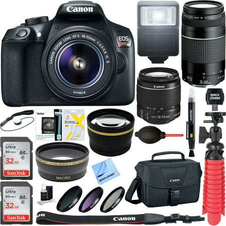 - Canon EOS Rebel T6 Digital SLR Camera w/ EF-S 18-55mm IS + EF-S 75-300mm Lens Bundle includes Camera, Lenses, Bag, Filter Kit, Memory Card, Tripod, Flash, Cleaning Kit, Beach Camera Cloth and More