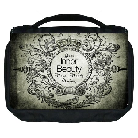 Small Travel Toiletry / Cosmetic Case with 3 Compartments and Detachable Hanger Your Inner Beauty Never Needs Makeup on Vintage Royal Grunge Print - Nerd Makeup