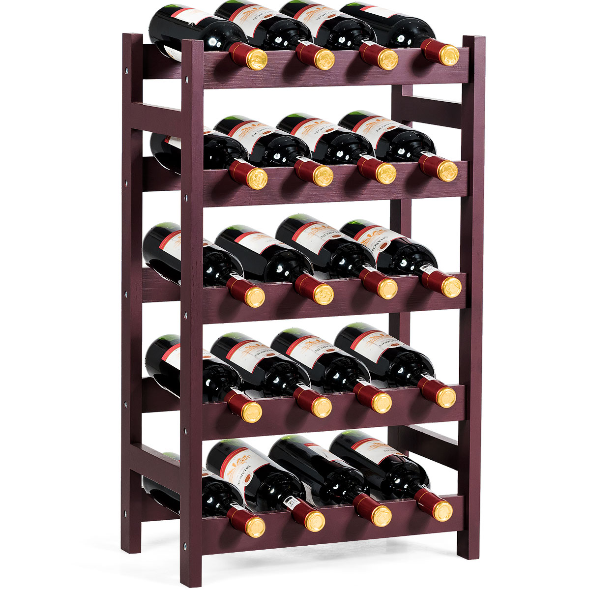 8-Bottle Riipoo 8-Bottle Wine Rack Free Standing and Countertop Stackable Wine Storage Shelf 2-Tier Nature Bamboo Wine Display Rack