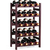 5-Tier Wood Wine Rack Free Standing Storage Shelf 20 Bottles