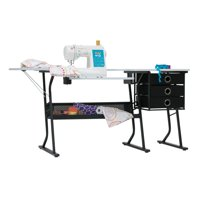 Studio Designs Alpha Hobby Sewing Center Craft Table with Drawers in Black / White Top, 20000