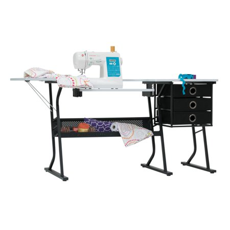 Studio Designs Alpha Hobby Sewing Center Craft Table with Drawers in Black / White Top, 20000 ()