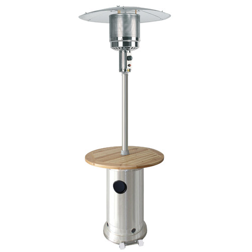 Hiland Tall Stainless Steel Patio Heater With Wood Table Walmart Com