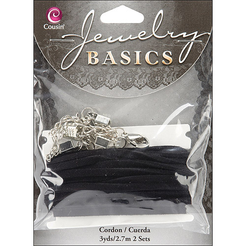 Jewelry Basics Cord Sets, 2pk, 3yd of Black Leather and 2 Metal Clasps