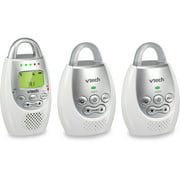 VTech DM221-2 Safe & Sound DECT 6.0 Digital Audio Baby Monitor with Vibrating Sound Alert, 2 Parent Units, White/Silver