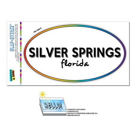 Silver Springs, FL - Florida - Rainbow - City State - Oval Laminated Sticker