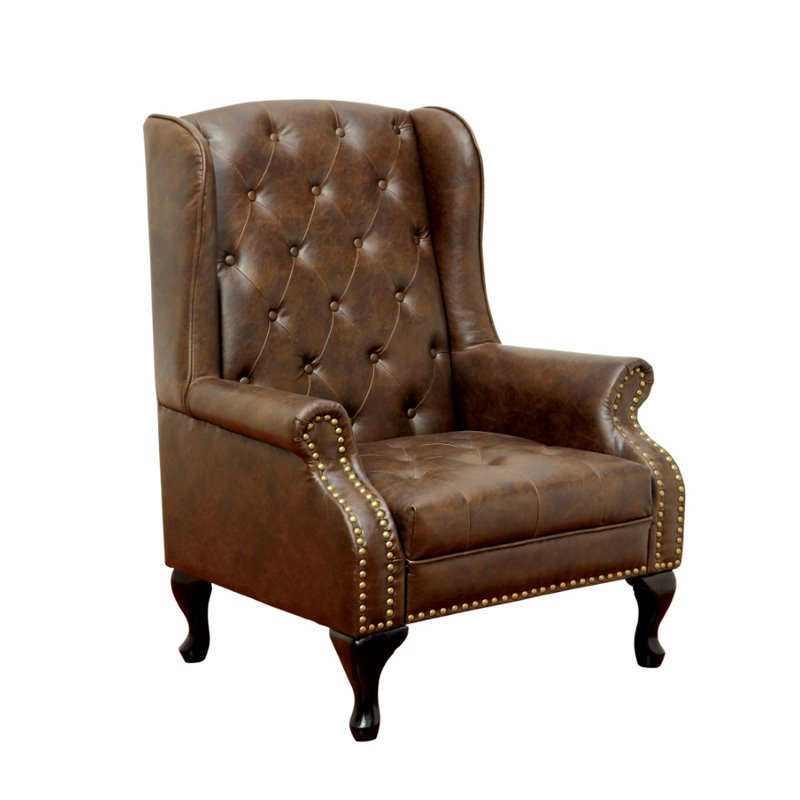 Furniture of America Ardell Faux Leather Tufted Accent Chair in Brown