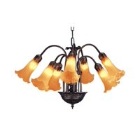 Pond Lily 7-Light Chandelier in Amber