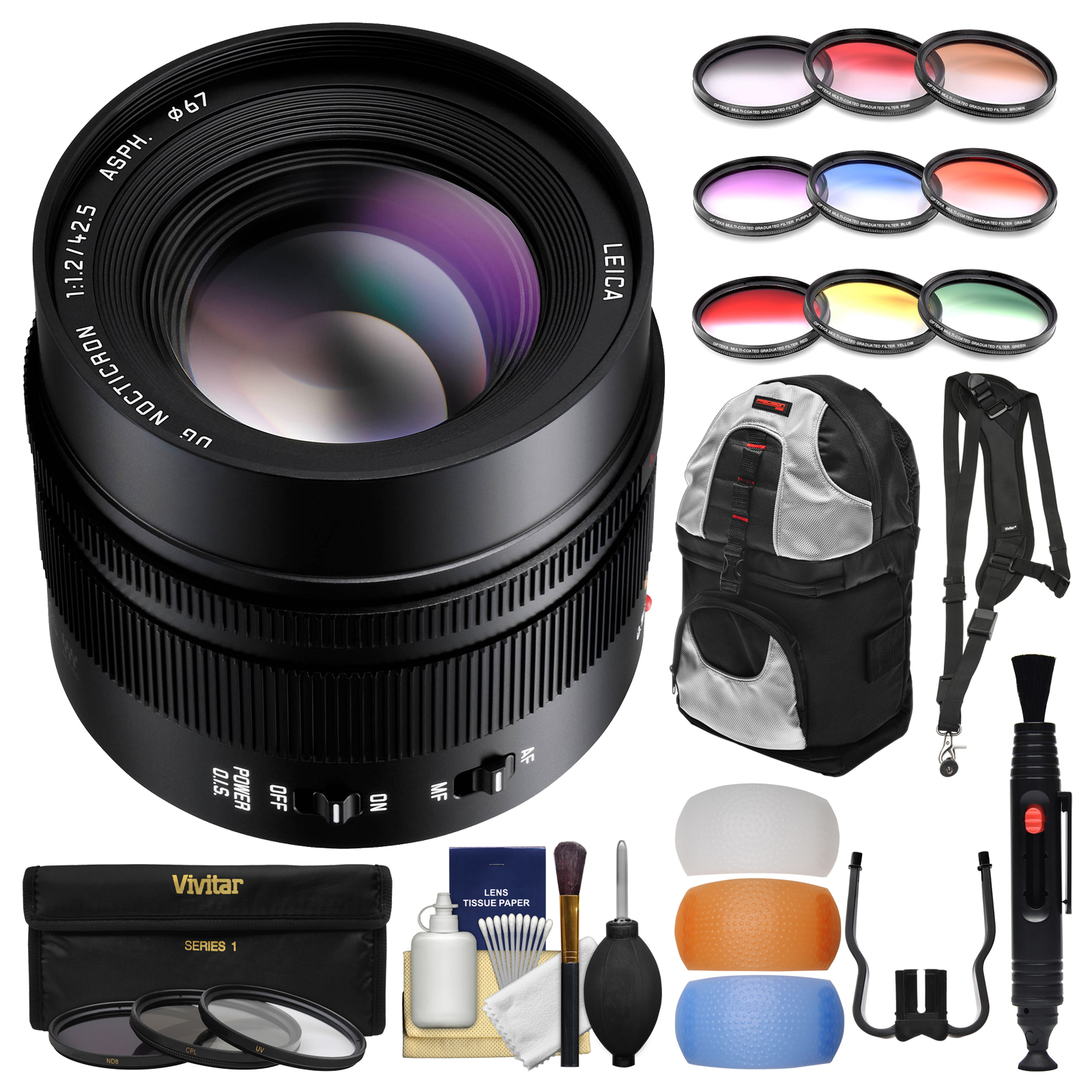 Panasonic Lumix G 42.5mm f/1.2 Leica DG Nocticron ASPH. Lens for G Series Cameras with Backpack + 3 UV/CPL/ND8 & 9 Colored Filters + Sling Strap + Kit