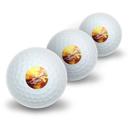 Trumpet Player Band Orchestra Instrument Music Brass Novelty Golf Balls, 3pk