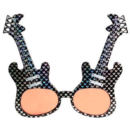 Rock Star Hearts Glitter Guitar Sunglasses, Black Silver Frame, Pink Lens, OS - Guitar Sunglasses